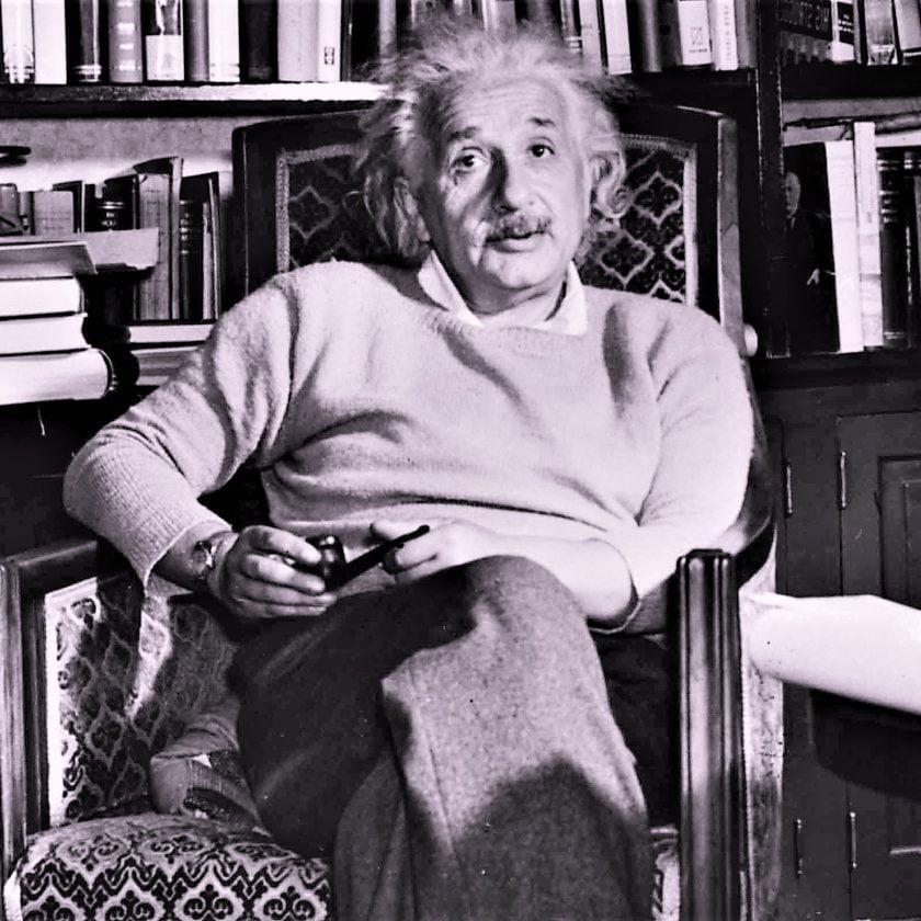 Albert-Einstein in his home