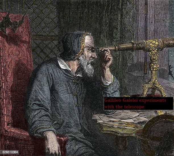 Galileo Galilei and his Telescope - engraving 1864