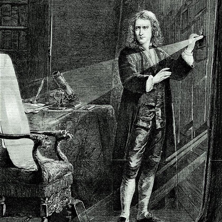 Isaac-Newton-sunlight-study-optics-prism-engraving-1879