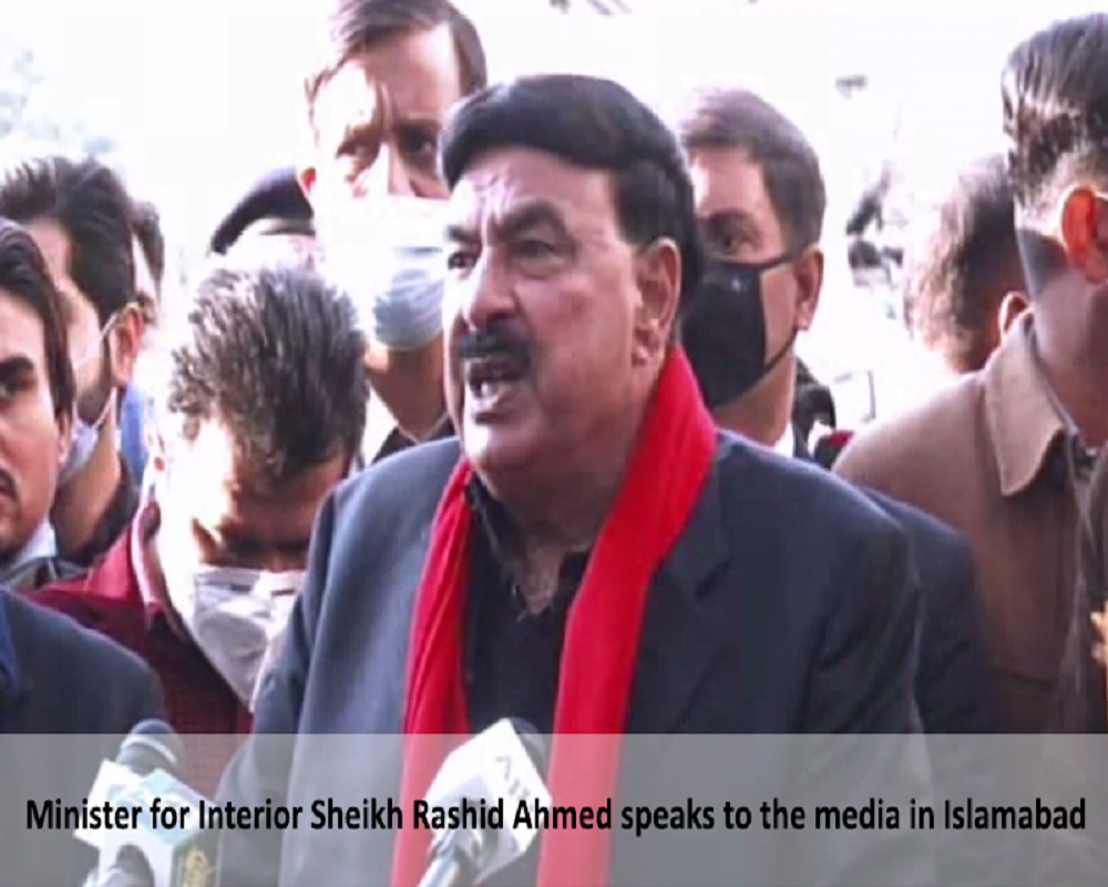 Minister for Interior Sheikh Rashid Ahmed speaks to the media in Islamabad